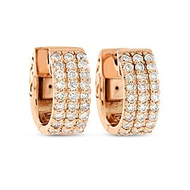 14k Rose Gold 0.64 Ct. Natural Diamond Small Hoop Huggie Triple Row Earrings