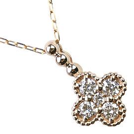Flower motif Necklace K18 yellow gold/diamond Women