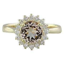 1.50 Carat Morganite 14K Yellow Gold Diamond Ring