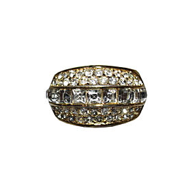 Christian Dior Yellow Gold Plated Rhinestone Pave Vintage Ring Size 7