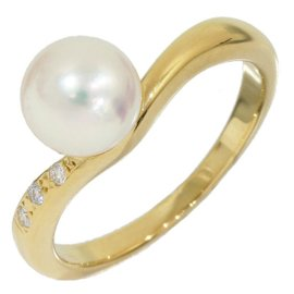Mikimoto 18K Yellow Gold Pearl and 0.03 Ct Diamond Design Band Ring Size 4.75