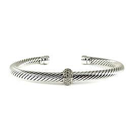 David Yurman Cable Classics Sterling Silver 18K White Gold Pave Diamond Bracelet