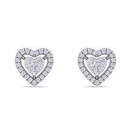 GLAM ® Heart stud earrings in 14K gold with white diamonds of 0.93 ct in weight