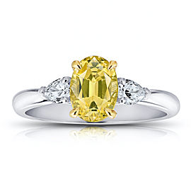 Platinum and 18K Yellow Gold 1.66ct Oval Yellow Sapphire and Diamond Ring Size 7