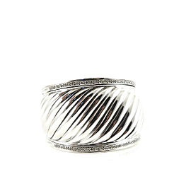 David Yurman Sterling Silver .84tcw 41mm Diamond Sculpted Cable Cuff Bracelet