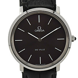 OMEGA de vill Purple Dial SS/Leather Cal.625 Hand Winding Men's Watch