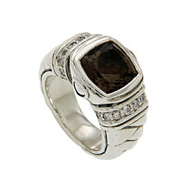 Scott Kay 925 Sterling Silver Diamonds & Smoke Topaz Ring Size 6.5