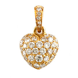 CARTIER 18K Gold Diamond Heart pave Pendant top CHAT-249