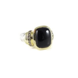 David Yurman Sterling Silver and 18K Yellow Gold with 0.40ct. Diamond and Black Onyx Albion Ring Size 8.25