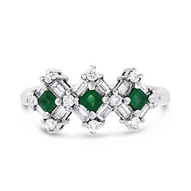 18k White Gold 0.74ct. Diamond & Emerald Triple Square Ring Size 7