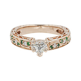14K Rose Gold with 0.41ct Heart Shaped Diamond & Emerald Vintage Engagement Ring Size 6