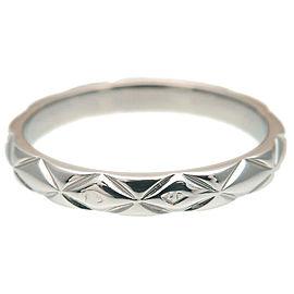 CHANEL 3P Diamond Platinum Matelasse Ring