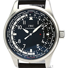 Polished IWC Stainless steel Pilot World Timer Watch HK-2115