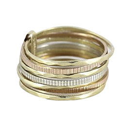 10K Tri-Gold Band Ring Size 6.25