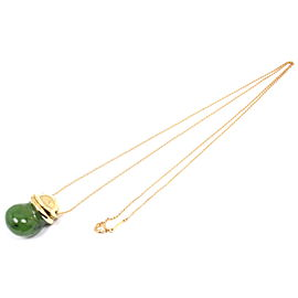 Tiffany & Co. Peretti 18K Yellow Gold & Jade Bottle Inro Urn Necklace