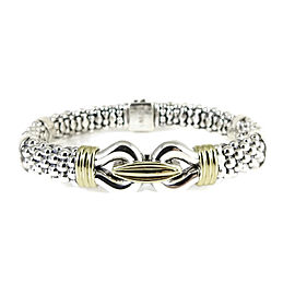 Lagos Caviar Buckle Bracelet Sterling Silver 18K Yellow Gold