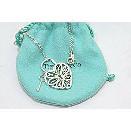 Tiffany & Co. Sterling Silver Filigree Heart Key Pendant Necklace