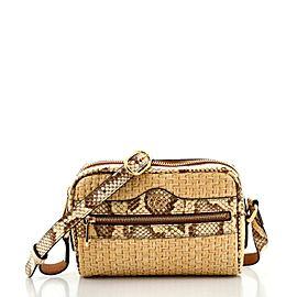 Gucci Ophidia Shoulder Bag Raffia with Snakeskin Mini