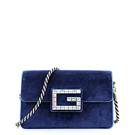 Gucci G Broadway Shoulder Bag Velvet with Crystals Small