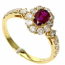 Ruby 18k Yellow Gold Diamond Ring