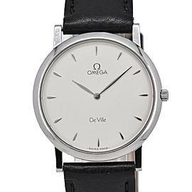 OMEGA de vill Silver Dial SS/Leather Quartz Men's Watch