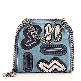 Stella McCartney Falabella Fold Over Crossbody Bag Zigarette Denim Mini