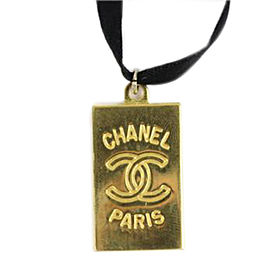 Chanel CC Pendant Ribbon Necklace