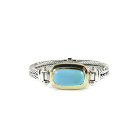 David Yurman Sterling Silver and 18K Yellow Gold Elongated Turquoise Albion Bracelet