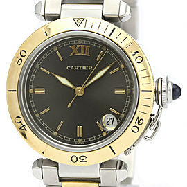 Polished CARTIER Pasha 35 18K Gold Steel Automatic Watch W31016N1