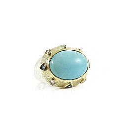 David Yurman Sterling Silver 18K Yellow Gold 18x13mm Oval Turquoise London Blue Topaz Diamond Da Vinci Ring