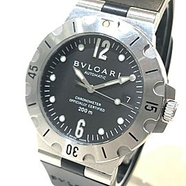 BVLGARI SD38S Stainlees Steel/Rubber Diagono Scuba 200m Watch