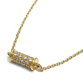 Christian Dior 18K Yellow Gold Pendant Roller Pave Diamond Accessories Necklace