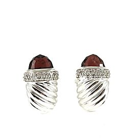 David Yurman Sterling Silver .45tcw Rhodolite Garnet Diamond Waverly Earrings - Larger Size
