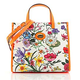 Gucci Convertible Open Tote Flora Canvas Small