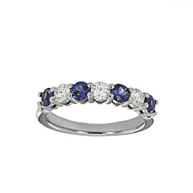 Tiffany&Co. Platinum Diamond Blue Sapphire Embrace Band Ring