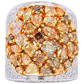 Fancy Multi Shaped Diamond Cluster Lady's Ring 18 Karat White Gold