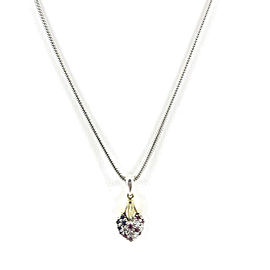"Lagos Sterling Silver 18K Yellow Gold 16"" Arcadian Ruby Sapphire Diamond Heart Pendant Necklace"