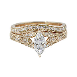 18K Rose Gold with 0.61ct Marquise Cut Diamond Wedding Ring Size 6