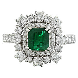 2.30 Carat Emerald 14K White Gold Diamond Ring