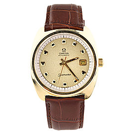 Omega Seamaster 166.065 Gold-Plated Automatic with Brown Leather Band Vintage 38mm Mens Watch