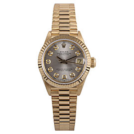 Rolex Datejust 18K Yellow Gold Silver Diamond Dial 26mm Watch