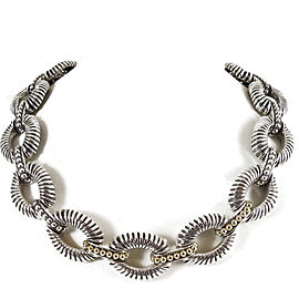 Lagos Sterling Silver 18K Yellow Gold Fluted Oval Link Caviar Necklace