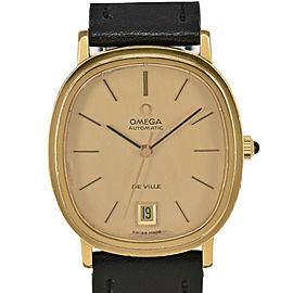 OMEGA de vill Cal.1012 gold Dial GP/Leather Automatic Men's Watch