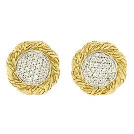 John Hardy Classic Chain 18k Yellow Gold Diamond Stud Earrings