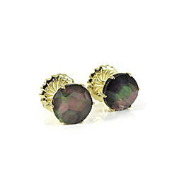 Ippolita 18K Yellow Gold Medium Round Stud Earrings in Black Shell