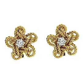 Cartier 18 Karat Yellow Gold Diamond Vintage Cufflinks