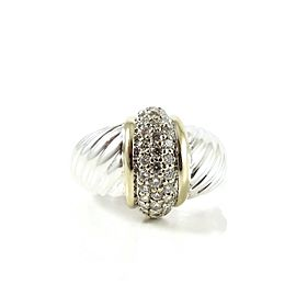 David Yurman Sterling Silver 18K Yellow Gold .40tcw Large Pave Diamond Shrimp Dome Ring