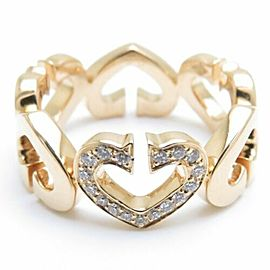 CARTIER 18K Yellow Gold Diamond C Heart Motif Ring