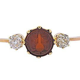 Antique Carnelian Intaglio Old Mine Diamond Gold Bangle Bracelet