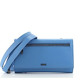 Christian Dior Front Zip Flap Wallet on Strap Leather